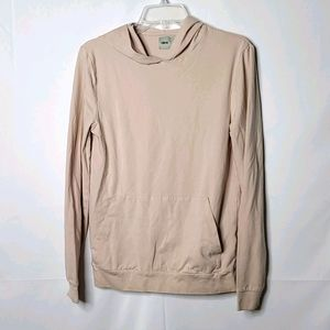 Asos cream long sleeve thick hooded shirt sz Small